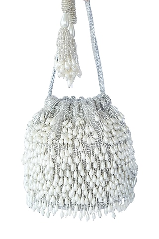 SIlver Pearl Embroidered Potli Bag by Adora By Ankita