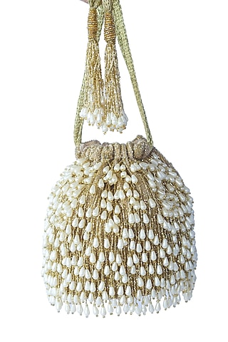 Gold Bead Embroidered Potli Bag by Adora By Ankita