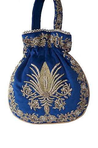 Blue Zardosi Embroidered Potli Bag by Adora By Ankita