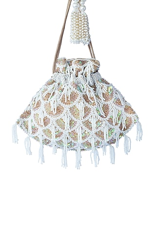 Gold Pearls Embroidered Potli Bag by Adora By Ankita