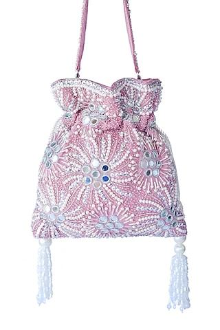 Light Pink Mirror Embroidered Potli Bag by Adora By Ankita