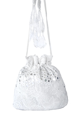 White Floral Embroidered Potli Bag by Adora By Ankita