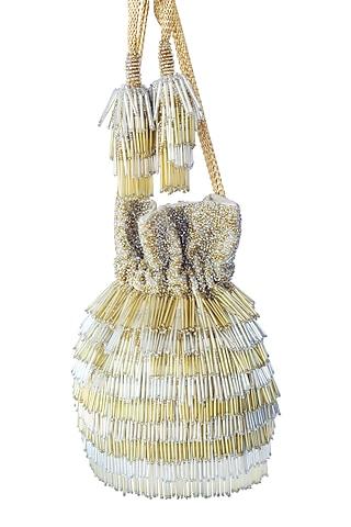 Gold Nalki Embroidered Potli Bag by Adora By Ankita