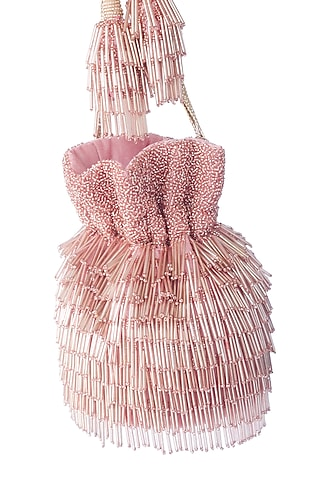 Pink Bead Embroidered Potli Bag by Adora By Ankita