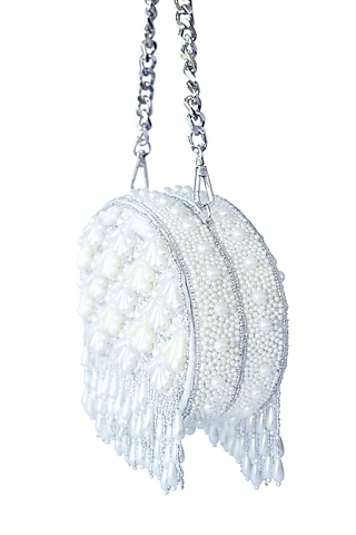 Cream Pearl Embroidered Clutch by Adora By Ankita