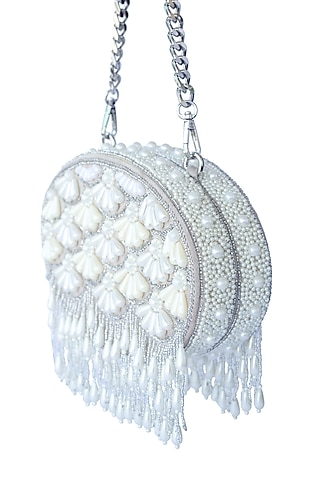 Beige Pearl Embroidered Clutch by Adora By Ankita