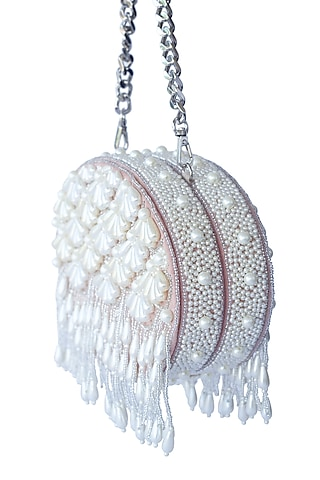 Pink Pearl Embroidered Clutch by Adora By Ankita