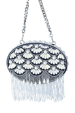 Black Pearl Embroidered Clutch by Adora By Ankita