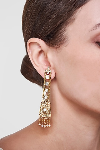 Gold Plated Handmade Dangler Earrings by Anita Dongre Silver Jewellery
