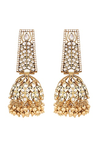 Gold Plated Handmade Jhumka Earrings by Anita Dongre Silver Jewellery