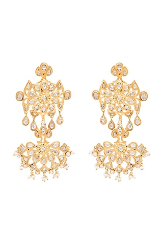 Gold Plated Floral Earrings by Anita Dongre Silver Jewellery