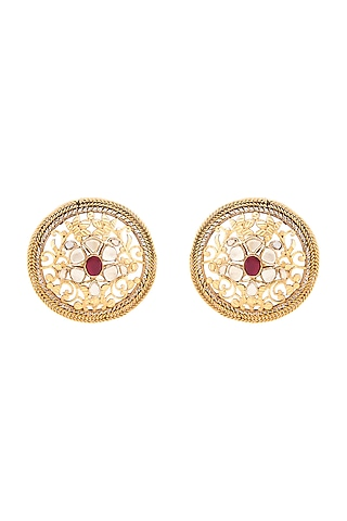 Gold Plated Crystal Floral Earrings by Anita Dongre Silver Jewellery