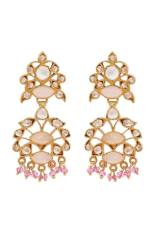 Gold Plated Ethnic Quartz Earrings by Anita Dongre Silver Jewellery