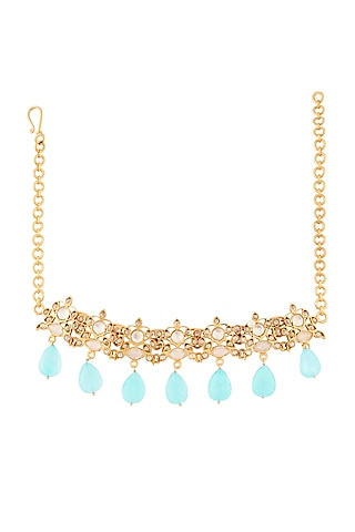 Gold Plated Aqua Stone Necklace by Anita Dongre Silver Jewellery