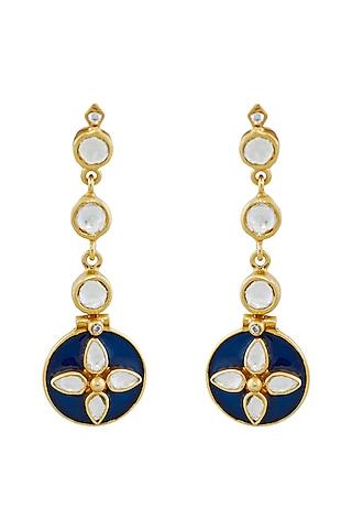 Gold Plated Blue Enamel Earrings by Anita Dongre Silver Jewellery