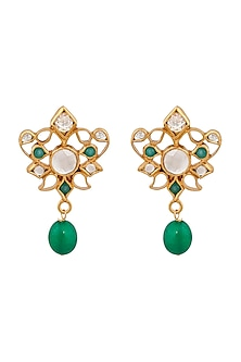 Gold Plated Green Quartz Enamel Earrings by Anita Dongre Silver Jewellery-FESTIVE GIFTING