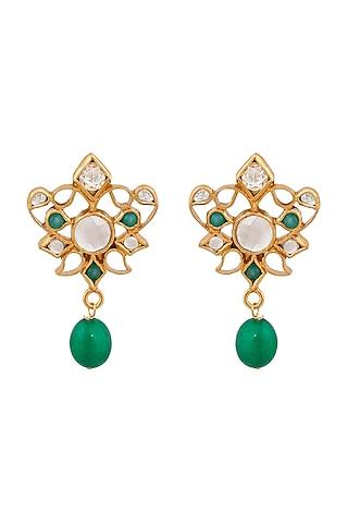 Gold Plated Green Quartz Enamel Earrings by Anita Dongre Silver Jewellery