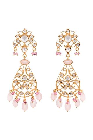 Gold Plated Rose Quartz Filigree Dangler Earrings by Anita Dongre Silver Jewellery