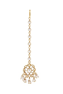 Gold Plated Crystal & Pearl Maang Tikka by Anita Dongre Silver Jewellery