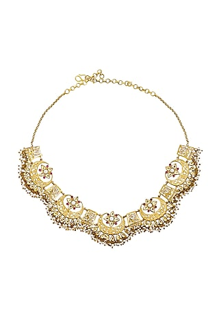 Gold Plated Scallop Collar Necklace by Anita Dongre Silver Jewellery