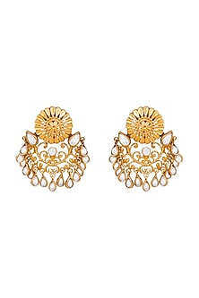 Gold Plated Crystal Chandbali Earrings by Anita Dongre Silver Jewellery
