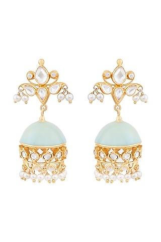 Gold Plated Pearl Aqua Enamel Earrings by Anita Dongre Silver Jewellery