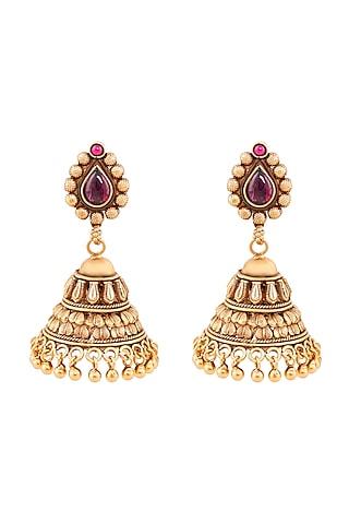 Gold Plated Bahana Jhumki Earrings by Anita Dongre Silver Jewellery