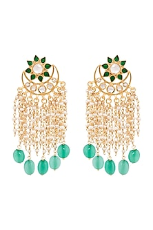 Gold Plated Green Quartz Sitara Earrings by Anita Dongre Silver Jewellery