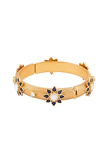 Gold Plated Deep Blue Enamel Tanu Bangle by Anita Dongre Silver Jewellery