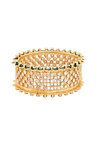 Gold Plated Green Enamel Heeposh Bangle by Anita Dongre Silver Jewellery