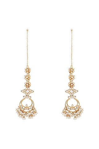 Gold Plated Floral Tali Dangler Earrings by Anita Dongre Silver Jewellery