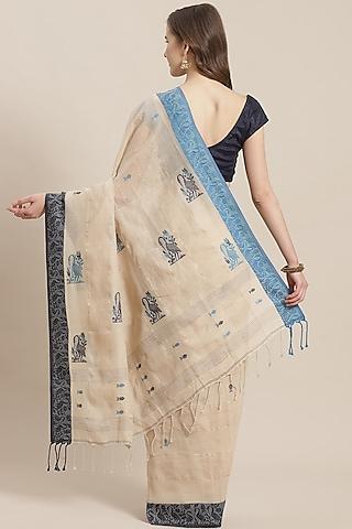 Cream & Cobalt Blue Embroidered Saree by Aditri