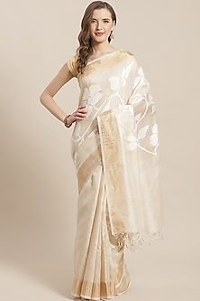 Beige Embroidered Saree by Aditri