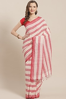 White & Red Striped Saree by Aditri