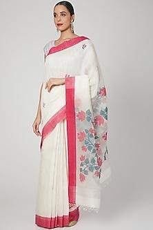 White Saree With Jamdani Floral Motifs by Aditri