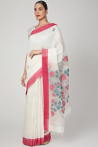 White Saree With Jamdani Floral Motifs by Aditri