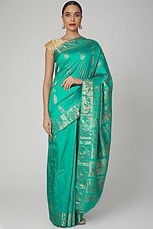 Bluish Green Baluchari Saree by Aditri