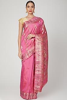 Fuchsia Meenakari Baluchari Saree by Aditri