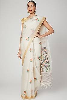 Cream Saree With Lotus Motifs by Aditri