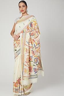 Cream Nakshi Kantha Saree by Aditri-POPULAR PRODUCTS AT STORE