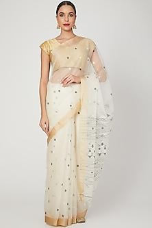 White Saree With Jamdani Motif by Aditri