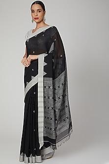 Black Khadi Cotton Striped Saree by Aditri-POPULAR PRODUCTS AT STORE