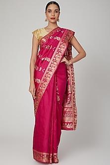 Pink Meenakari Baluchari Saree by Aditri