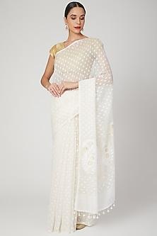 White Floral Motif Saree by Aditri