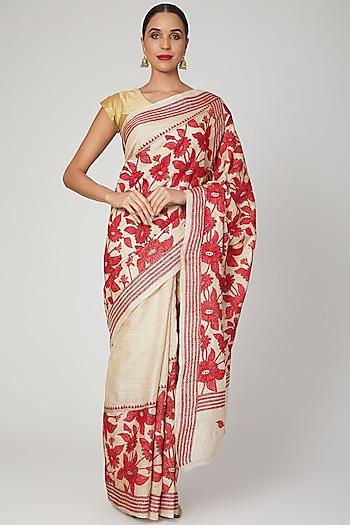 Maroon Nakshi Kantha Floral Saree by Aditri