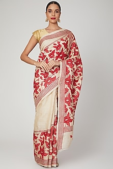 Maroon Nakshi Kantha Floral Saree by Aditri-POPULAR PRODUCTS AT STORE
