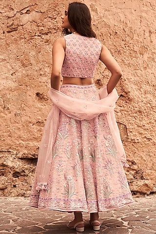 Pink Embroidered Skirt Set With Pockets by Anita Dongre