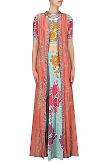 Aqua Printed Lehenga Skirt and Blouse with Pink Sleeveless Long Jacket by Anupamaa Dayal