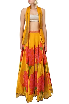 Yellow and Pink Rose Print Lehenga Skirt and Golden Bustier Set by Anupamaa Dayal