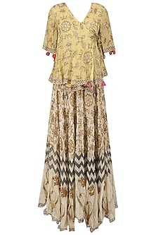 Beige Printed Frill Top and Embellished Skirt Set by Anupamaa Dayal